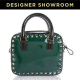 Valentino Convertible Emerald Black Studded Leather Satchel