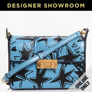 Lanvin Jiji Sketch Leather Crossbody Bag Black Blue Star