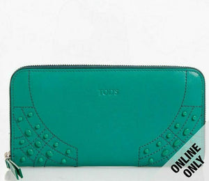 Tod's Gommini Wave Green Leather Zip-Around Wallet