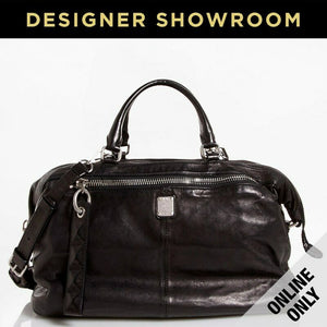 MCM Tumbled Leather Weekender Bag Black