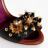 Dolce & Gabbana EUR 39/US 9 Embossed Leather Bejeweled Flower Heels CR0162 AD356