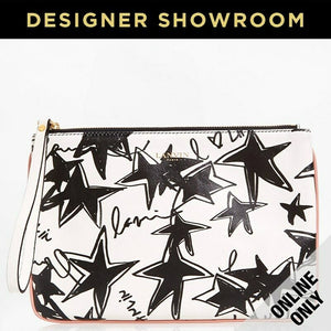Lanvin Stars Print Leather Wristlet White Black
