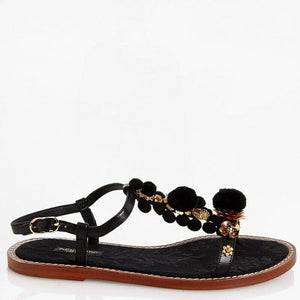 Dolce & Gabbana EUR 37/US 7 Womens Leather Flower Pom Pom Sandals CQ0079
