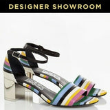 Salvatore Ferragamo EUR 36/US 6 Women's Striped Leather Sandals 641907