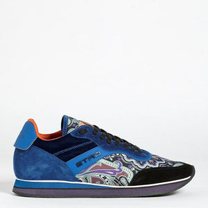 Etro US 5 Leather and Velvet Paisley Sneakers 120472265