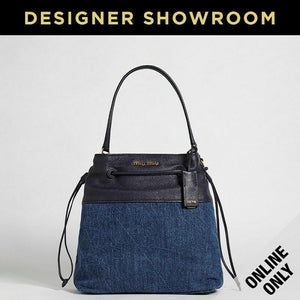 Miu Miu Baltico Leather & Denim Drawstring Bag