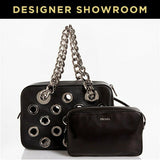 Prada Black Leather Grommet Satchel with Pouch