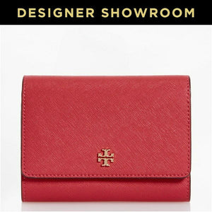Tory Burch Saffiano Pink Leather Logo Flap Front Wallet