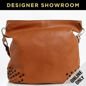 Tod's Gommini Camel Leather Studded Hobo