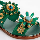 Dolce & Gabbana EUR 37.5/7.5 Embossed Leather Bejeweled Slingback Sandals CQ0060