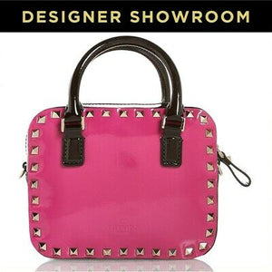 Valentino Convertible Fuschia and Black Studded Leather Satchel