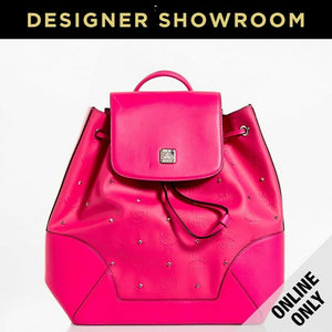 MCM Claudia Studs Leather Embossed Backpack Pink