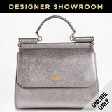 Dolce & Gabbana Sicily Silver Metallic Leather Convertible Bag