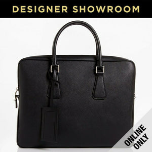 Prada Black Leather Top Zipper Convertible Briefcase