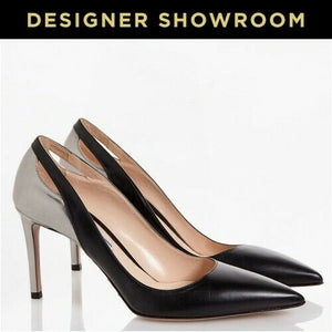 PRADA EUR 39 Women Black Leather Two-Tone Cutout Pumps