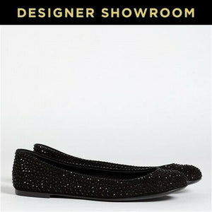 Giuseppe Zanotti US 6 Women's Suede and Crystal Flat Ballet I36096
