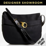Tory Burch Pebbled Black Leather Belted Double Link Hobo