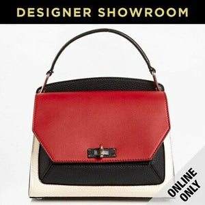 Bally Color Block Garnet Leather Convertible Crossbody