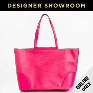 MCM Claudia Studs Canvas & Leather Tote Pink/MWP6SCA01