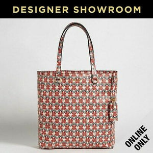 Miu Miu Red and Pink Leather Floral Print Tote