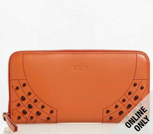 Tod's Gommini Wave Orange Leather Zip-Around Wallet