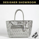 Miu Miu Grey Leather Metallic Convertible Tote