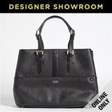 Giorgio Armani Leather Convertible Tote Black