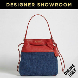 Miu Miu Red Leather & Denim Drawstring Bag Denim