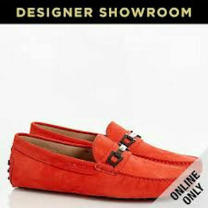 TOD'S US 7 Men's Orange Gommino Suede Bit Driver Loafers