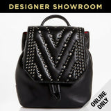 MCM Diamond Disco Leather Crystal Stud Mini Backpack Black
