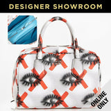 Prada White Orange Leather Two-in-One Convertible Satchel