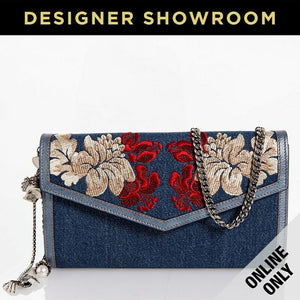 Alexander McQueen Embroidered Denim Skull Charm Clutch Denim