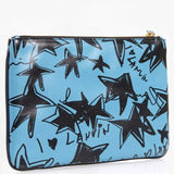 Lanvin Stars Print Leather Wristlet Blue Black