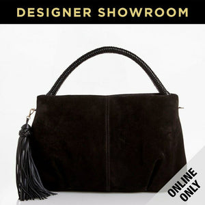 Giorgio Armani Suede Braided Handle Tassel Hobo Black