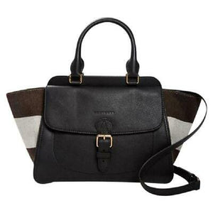 Burberry Leather & Canvas Harcourt Convertible Tote-Color- Black