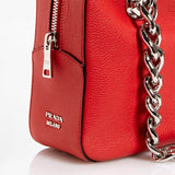 Prada Lacca Red Leather Chain Handle Satchel