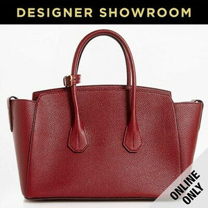 Bally Sommet Grained Red Leather Medium Tote