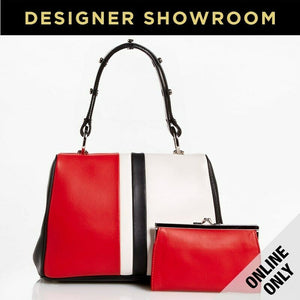 Prada Leather Black/Red/White Striped Frame Mini Satchel with Coin Purse