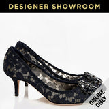 Dolce & Gabbana EUR 40 Womens Crystal Flower Lace Pumps CD0066 BLU NOTTE