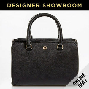 Tory Burch Saffiano Black Leather Convertible Mini Tote