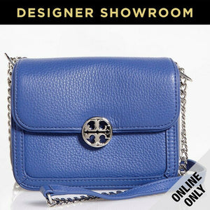 Tory Burch Logo Medallion Two-Tone Blue Leather Convertible Mini Crossbody