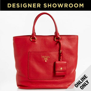Prada Pebbled Red Leather Convertible Tote