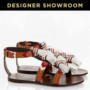 Tory Burch US 7.5 Women Brown Leather Tassel Strappy Sandals