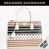 Prada Black/White/Camel Striped Leather Grommet Convertible Tote