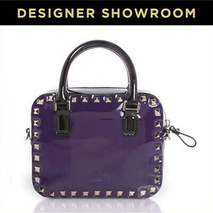 Valentino Convertible Purple and Black Studded Leather Satchel