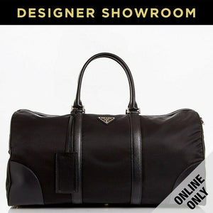 Prada Nylon & Leather Convertible Duffel with Padlock Black