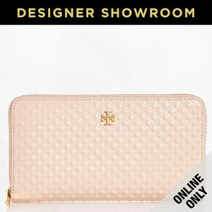 Tory Burch Pink Embossed Patent Leather Logo Zip-Around Wallet