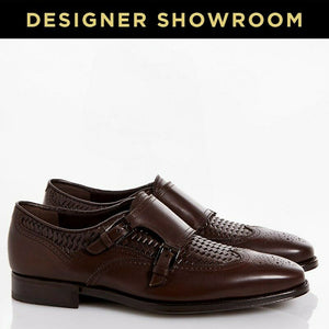 SALVATORE FERRAGAMO US 8.5 Mens Brown Leather Woven Wingtip Dress Shoe