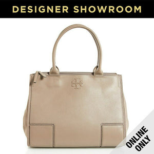 Tory Burch Grey Pebbled Leather & Canvas Large Tote