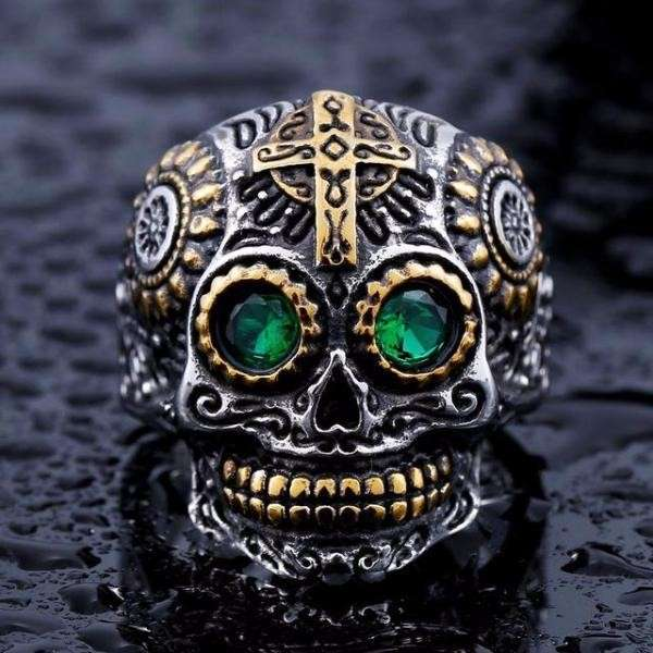 Bague Crâne Fashion 8 / Green Eye
